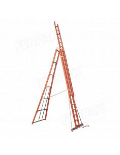 Ferpak Pte-4608 Escalera Dielectrica Tijera Doble 2,45/04,00 Mts 31,40 Kg Aluminio  8 Peldaños 136kg