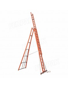 Ferpak Pte-4616 Escalera Dielectrica Tijera Doble 4,90/08,90 Mts 60,00 Kg Aluminio  8 Peldaños 136kg