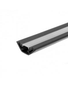 Macroled Pvc-esq-3m Perfil Pvc X2 Mts Esquinero Para Tiras Led 36x12mm Negro