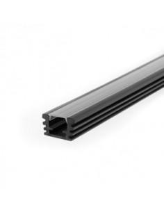 Macroled Pvc-f-3m__ Perfil Pvc X 2 Mts Flat Ext Para Tiras 14x07mm Negro